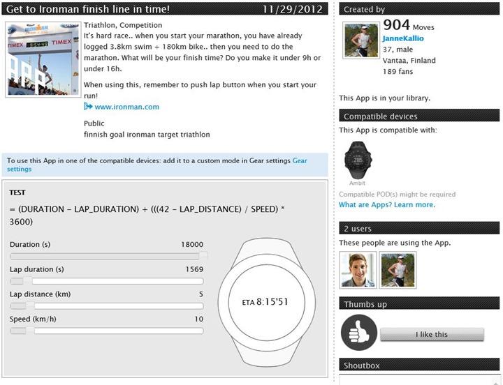Suunto Ambit App Zone Ironman App