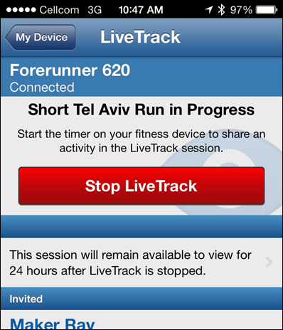 Garmin FR620 Livetracking App