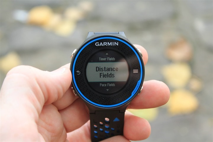 Garmin FR620 Display Fields