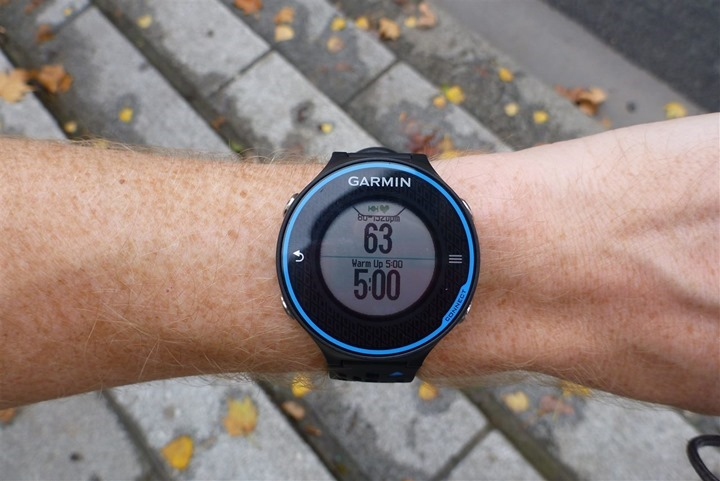 Garmin Connect Workout Screens on FR620