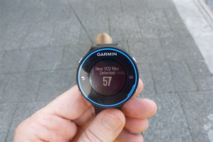 Garmin FR620 VO2Max Detection