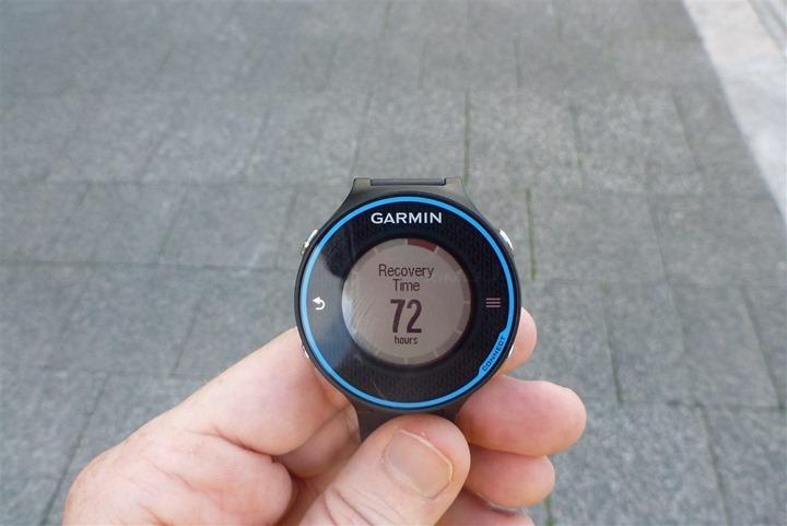 Garmin FR620 Recovery Time