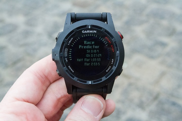 Garmin Fenix2 Running Race Predictor