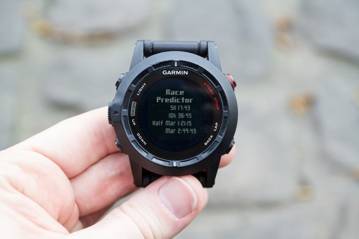 Garmin Fenix2 Race Predictor