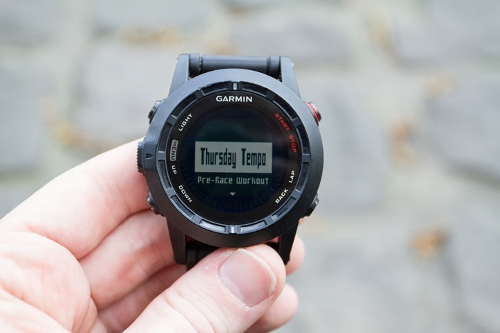 Garmin Fenix2 Workout Selection