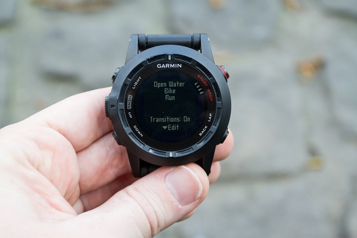 Garmin Fenix2 Multisport Mode Enable Transitions