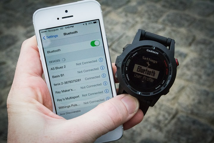 Garmin Fenix2 connected via Bluetooth Smart to phone