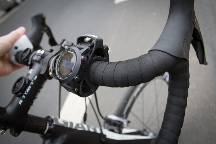 Garmin Fenix2 mounted to bike
