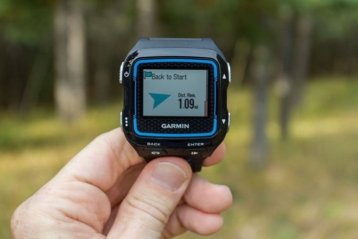 Garmin FR920XT - Back to start