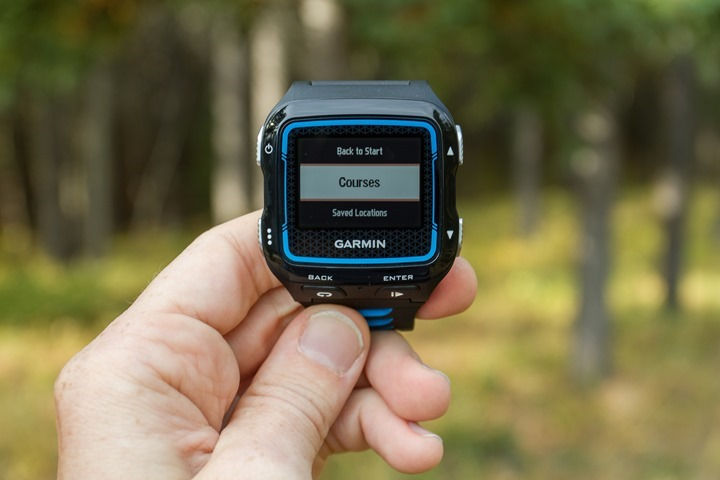 Garmin FR920XT - Courses Menu