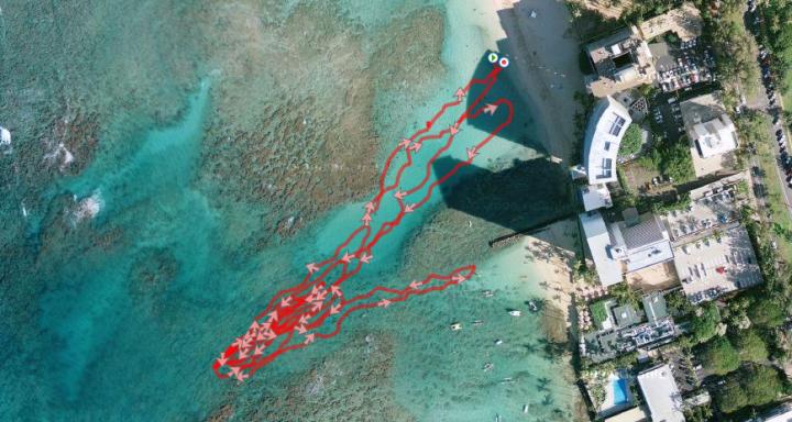 Garmin 305 satellite view during swim