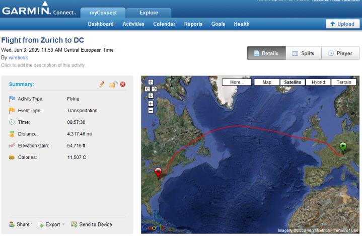 Garmin 305 Satellite view with flight