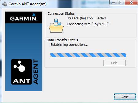 Garmin 405 ANT+ Sync