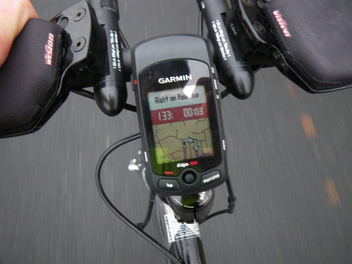 Garmin Edge 705 on street routing