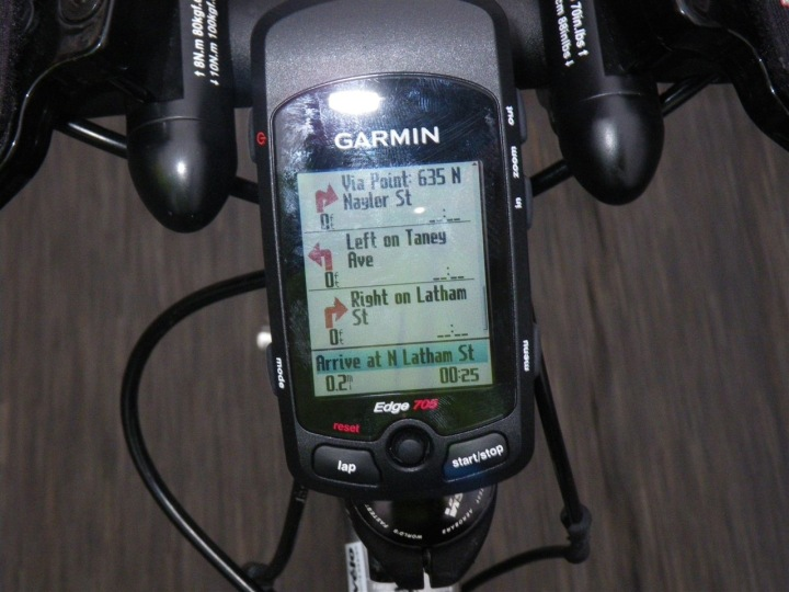 Garmin Edge 705 turn by turn directions