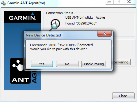 Garmin ANT+ Agent new pairing with 310XT