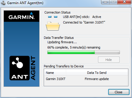 Garmin ANT+ Agent updating 310XT firmware