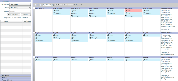 Training Peaks Calendar View