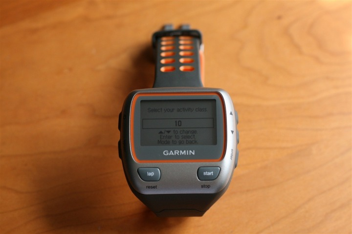 Garmin 310XT First Power on, activity class