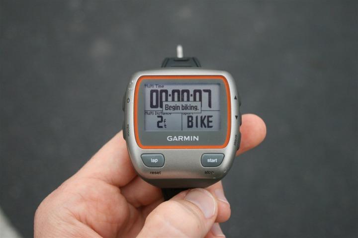 Garmin 310XT Begin Bike in Multisport Mode