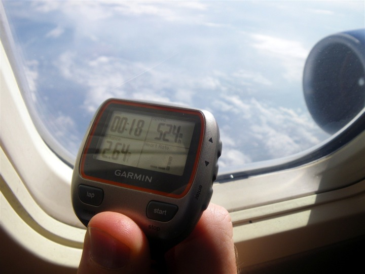 Garmin 310XT while on a plane flying