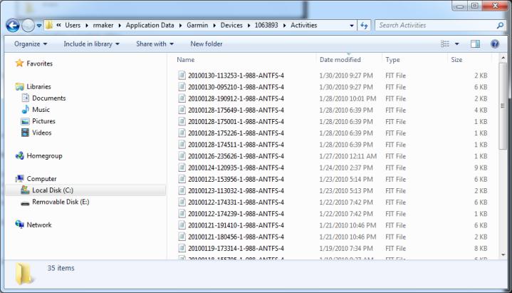 FR-60 .FIT files folder