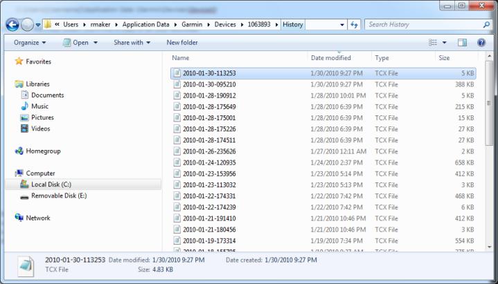 FR-60 .TCX Files Folder
