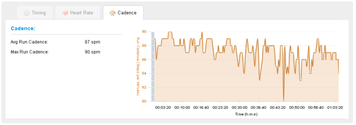 Cadence in Garmin Connect