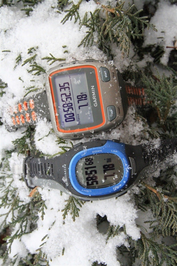 Garmin FR-60 and 310XT in snow after run