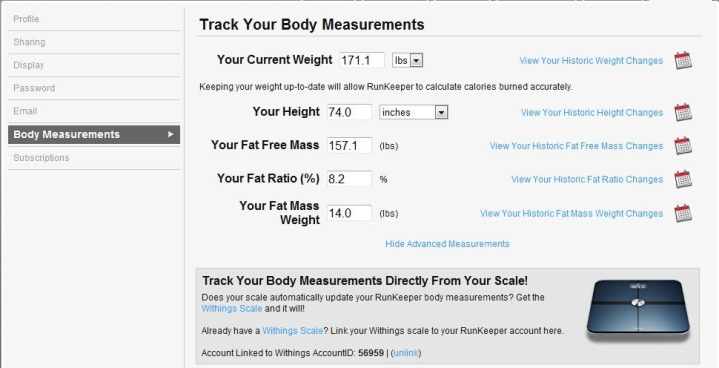 RunKeeper Withings Scale Integration