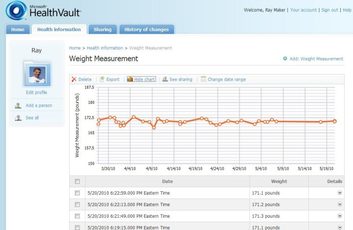 Withings data in Health Vault Graph