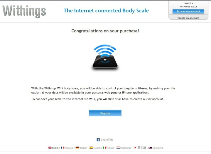 Withings WiFi Scale Initial Setup