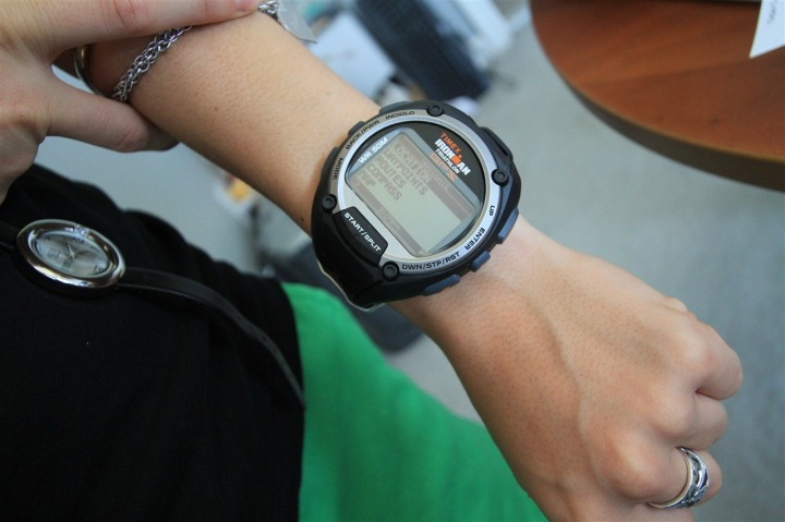 Timex Global Trainer on small wrist