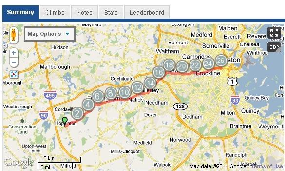 MapMyRun Boston Route