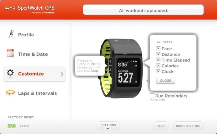 Nike+ GPS Sportwatch Connect Software Customize
