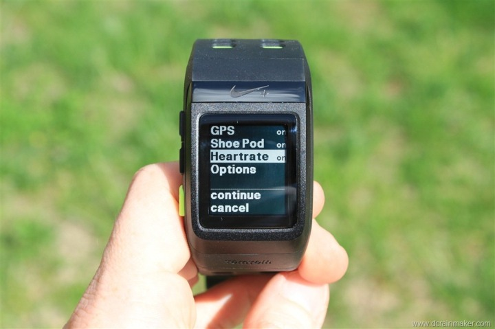 Nike+ GPS Sportwatch Sensor Options