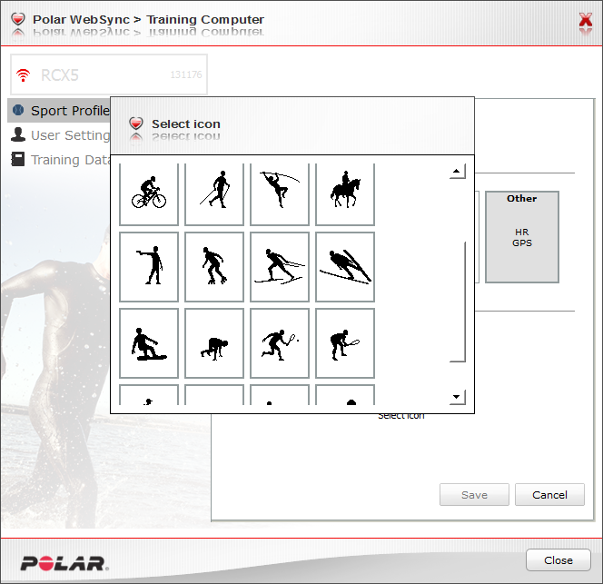 RCX5 creating your own sport profile, selecting graphic