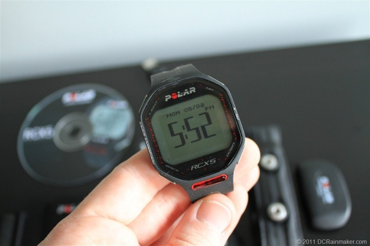 Polar RCX5 front of watch