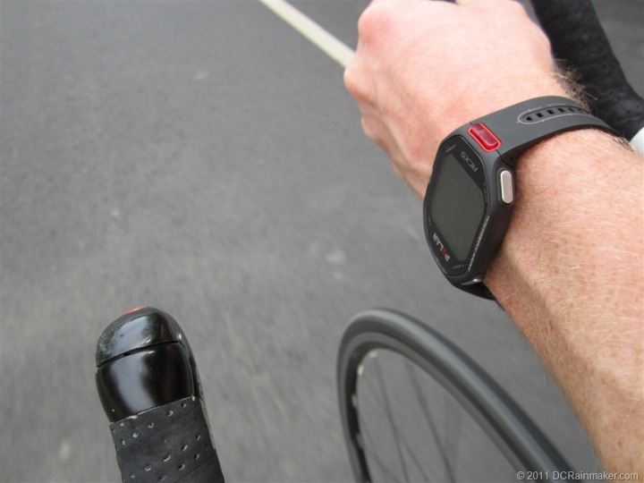 Polar RCX5 on wrist while cycling