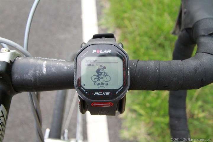 Polar RCX5 on bike mount cycling