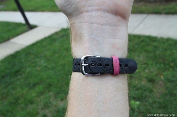 Garmin FR70 on wrist, band