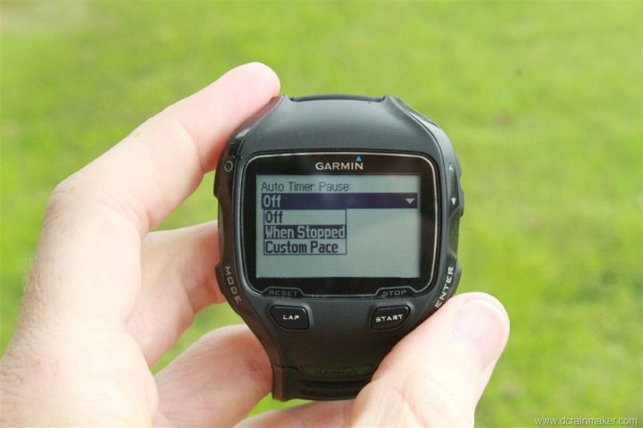Garmin FR910XT Auto Pause Resume Settings