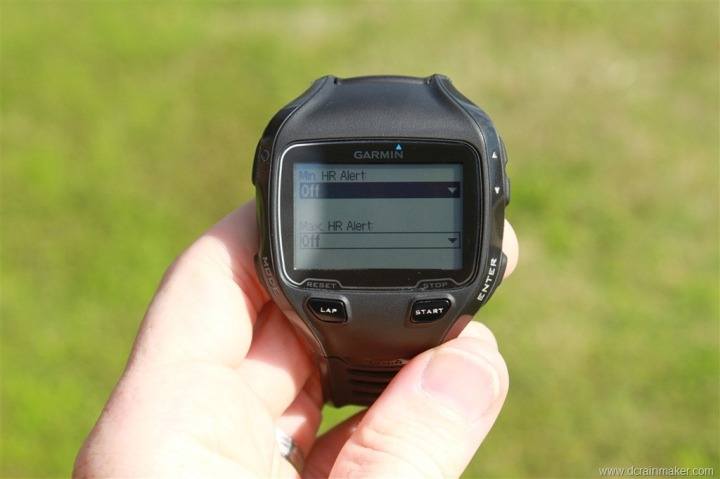 Garmin FR910XT HR Alert Customization