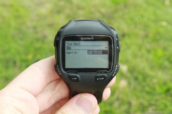 Garmin FR910XT Time Alert Customization