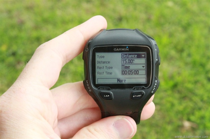Garmin FR910XT Interval Creation