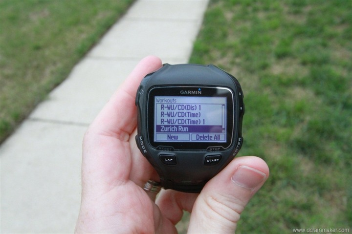Garmin FR910XT Workout Selection