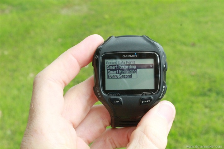 Garmin FR910XT Smart Recording and 1 second recording