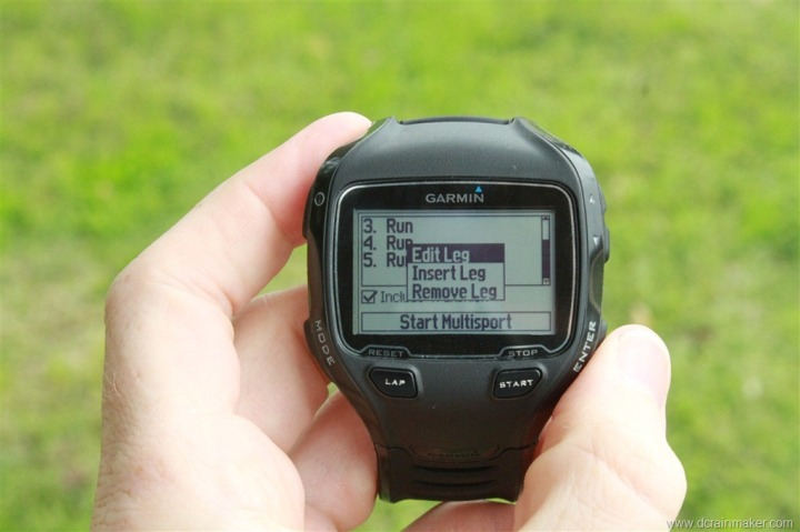 Garmin FR910XT Multisport Mode - Edit Legs