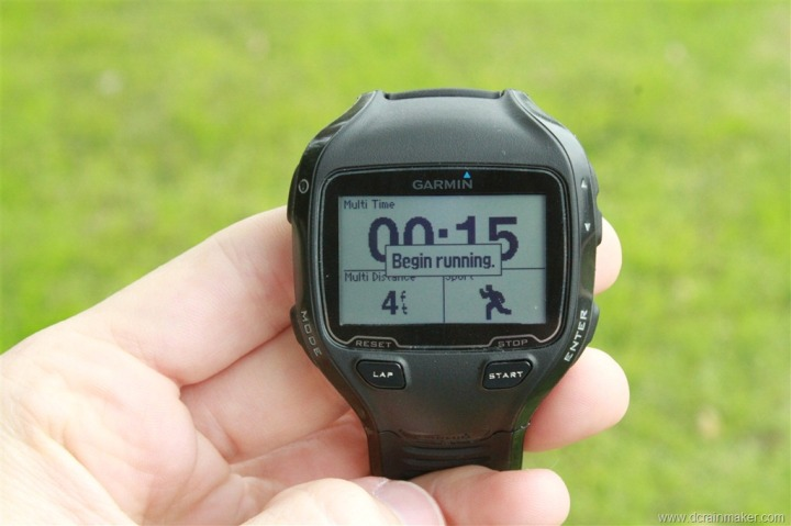Garmin FR910XT Multisport Mode - Begin Running