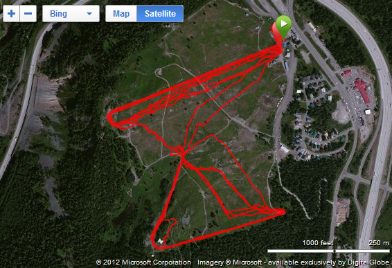 Garmin FR910XT Skiing Map...a rainy day.